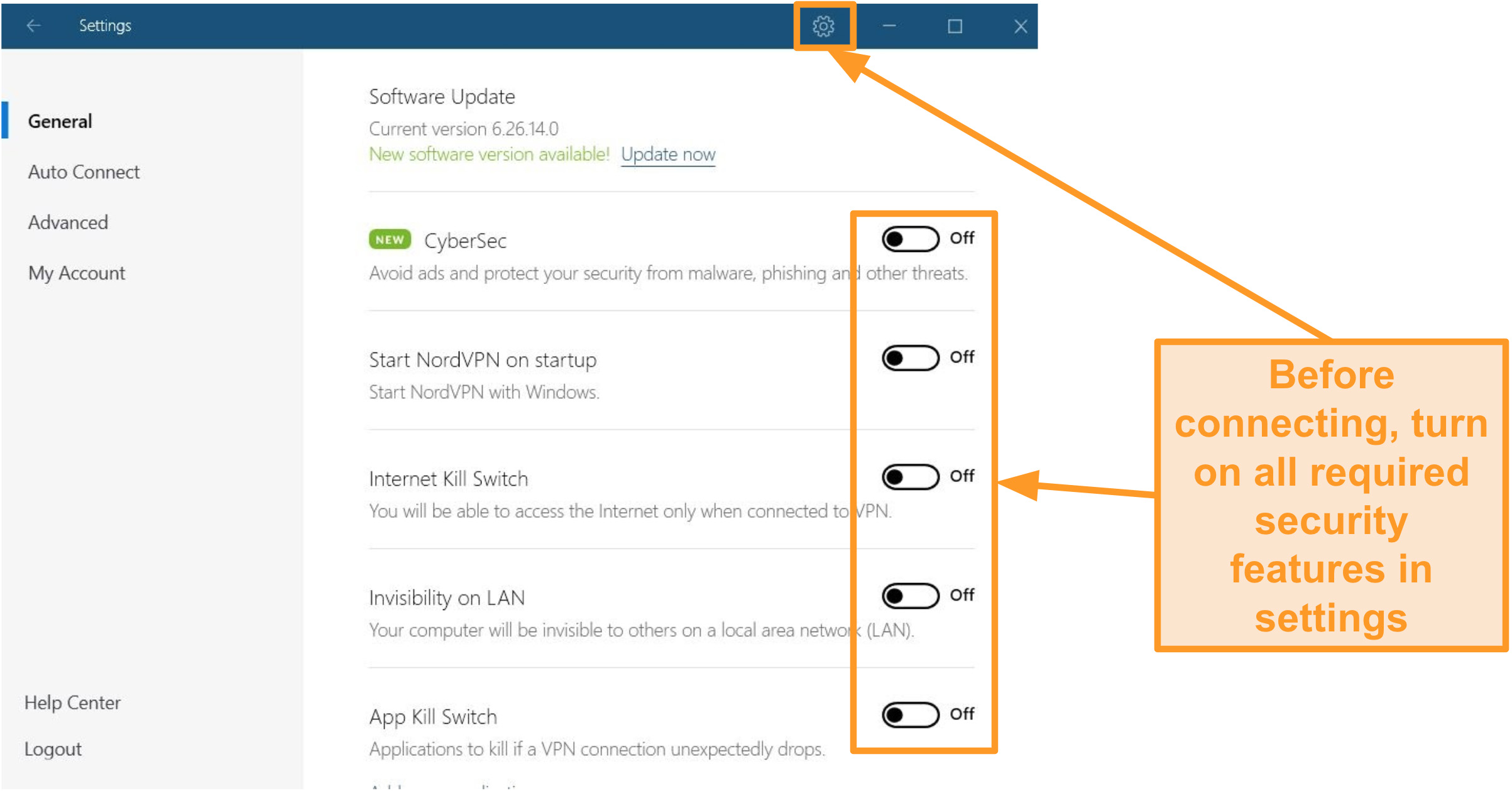 Screenshot of NordVPN's security options in settings