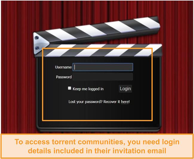 Screenshot of PassThePopcorn login page