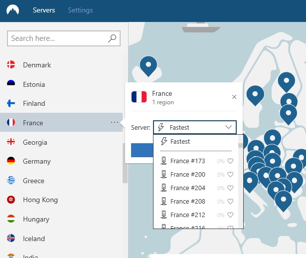 NordVPN choose by US city