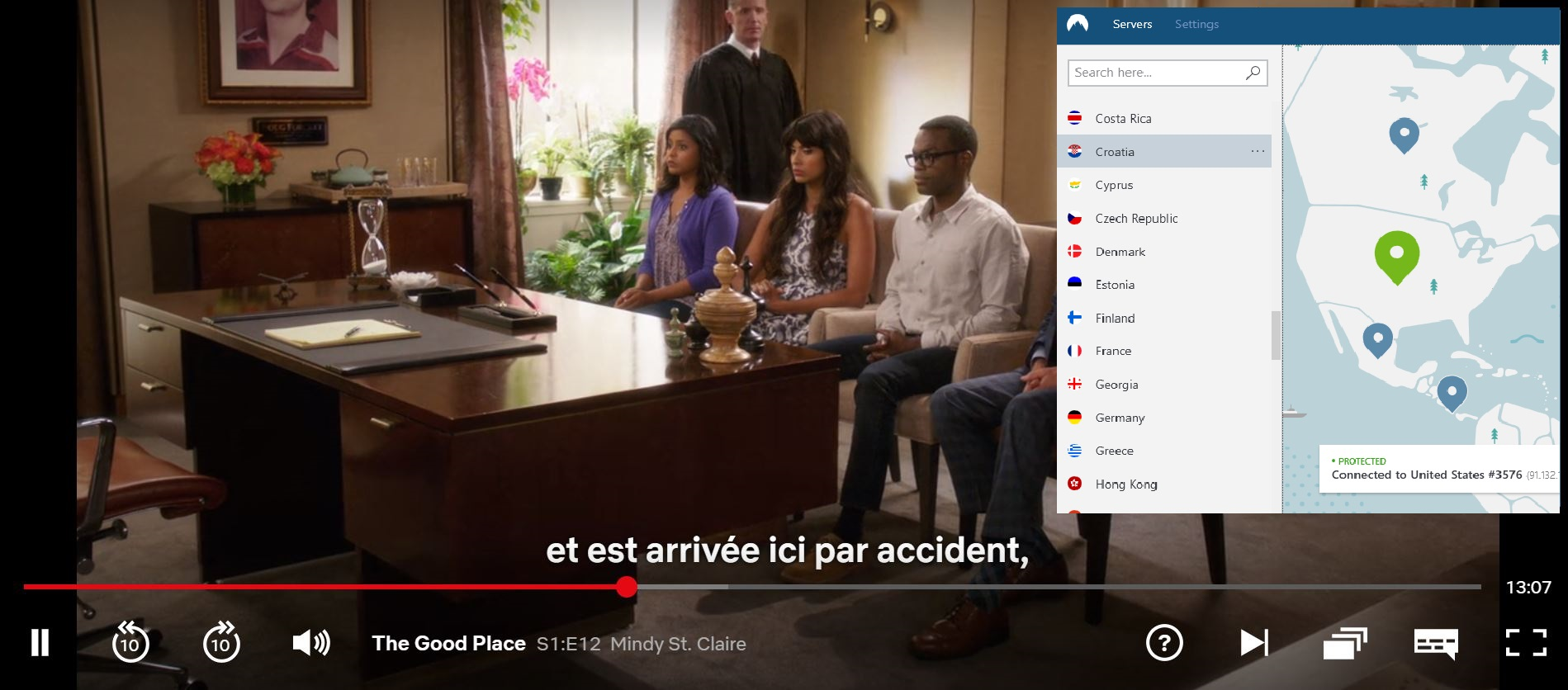 Screenshot of NordVPN unblocking Netflix US