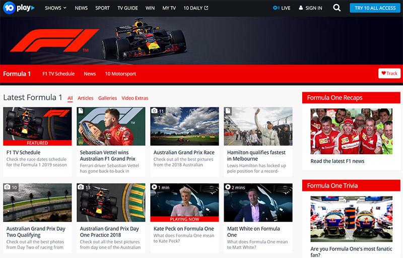 Network Ten Tenplay Formula 1