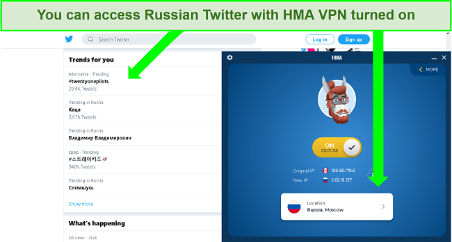Screenshot of Twitter featuring trending hashtags in Russia with HMA VPN connected