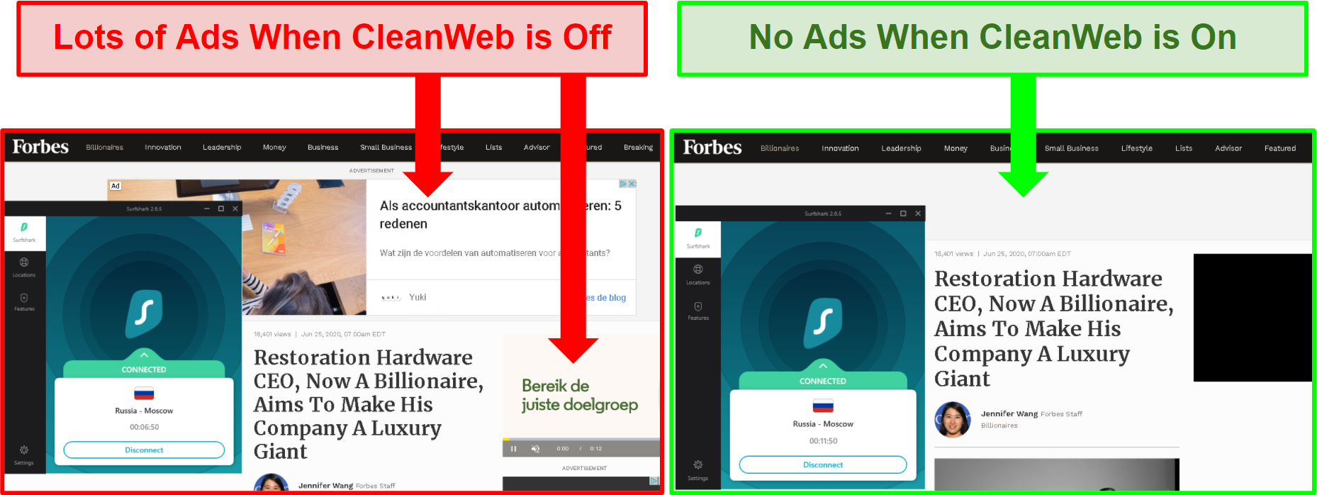 Graphic highlighting Surfsharks ability to block Ads with CleanWeb Feature