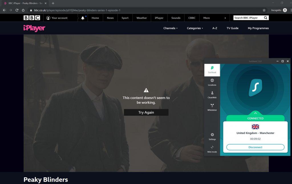Surfshark no pudo evitar BBC iPlayer
