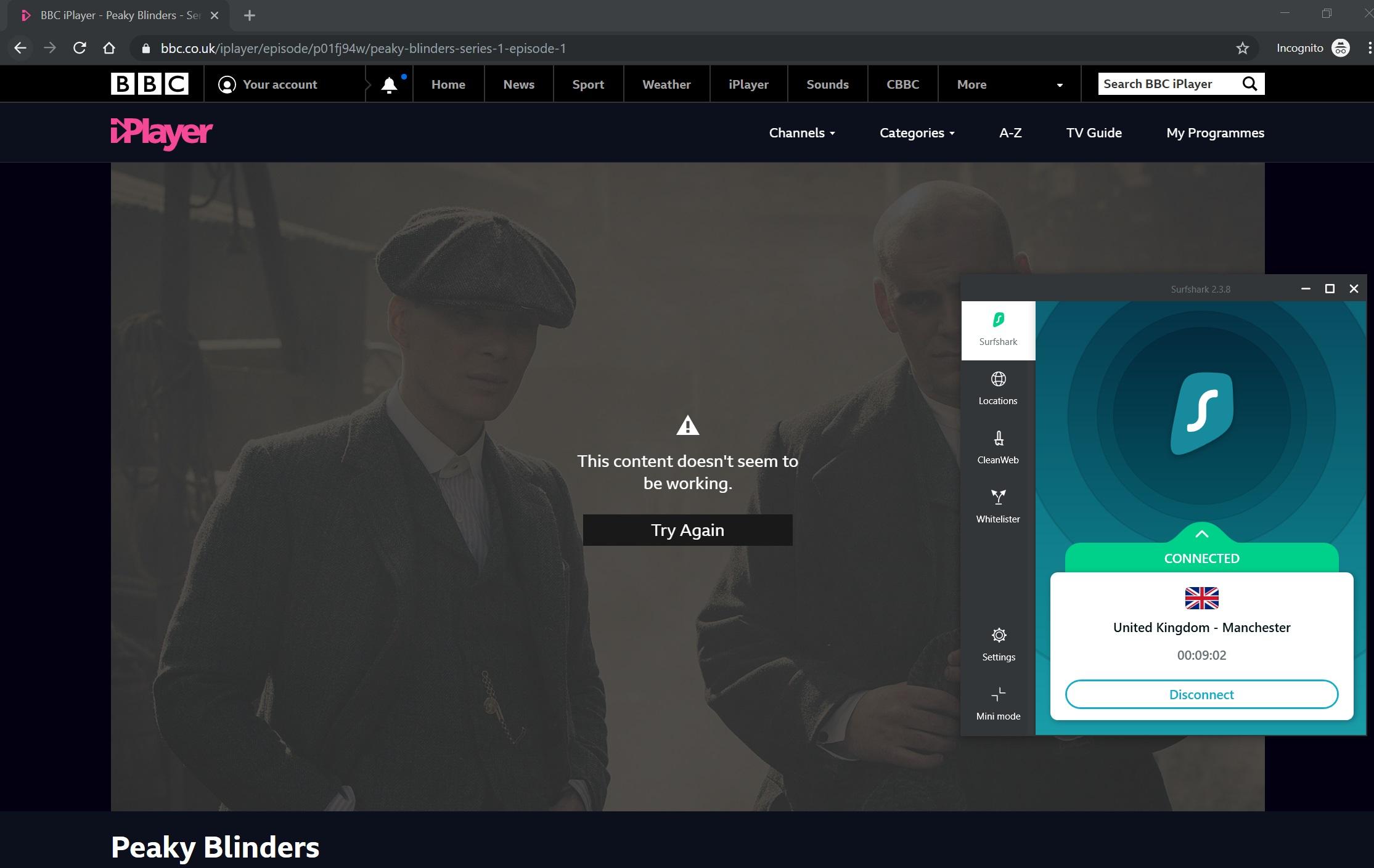 فشل Surfshark في تجاوز BBC iPlayer