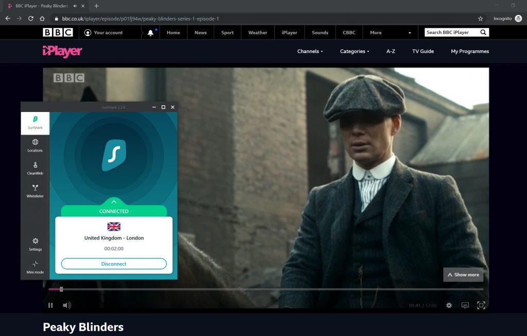 Surfshark evitó el geobloque BBC iPlayer