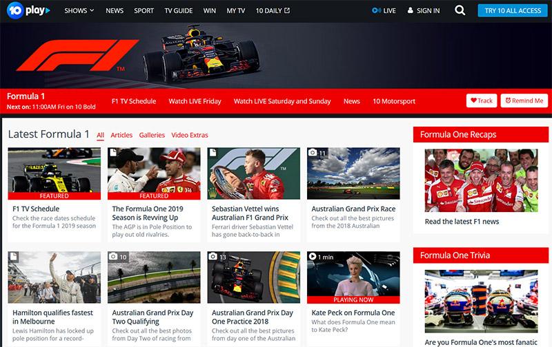 TenPlay Australian Grand Prix Formula 1 vpn