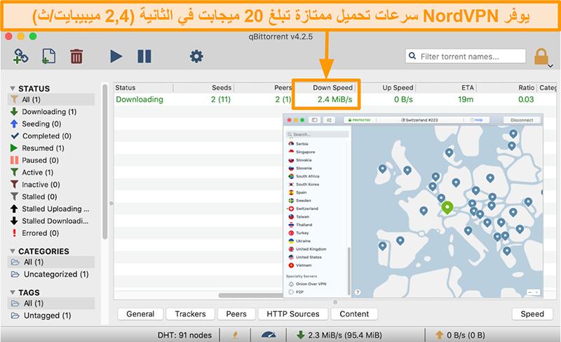 لقطة شاشة لخادم سويسرا الخاص بـ NordVPN مع قيام عميل qBitTorrent بتنزيل ملف تورنت