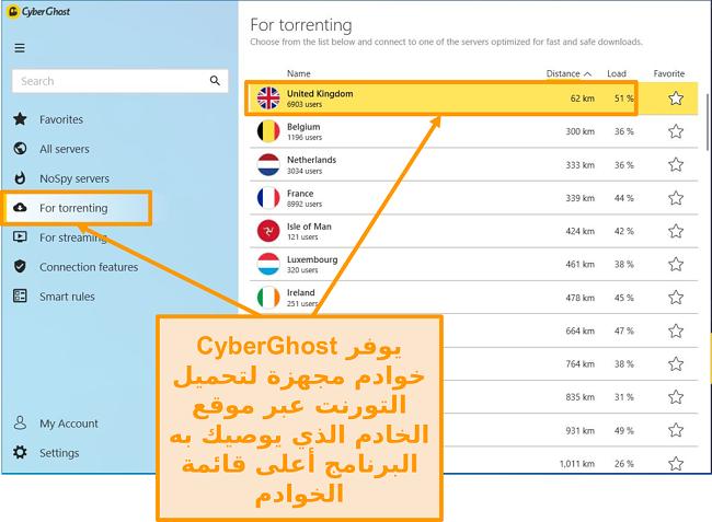 لقطة شاشة لخوادم P2P المحسّنة من CyberGhost