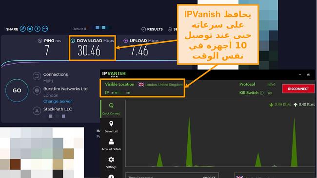 لقطة شاشة لاختبار السرعة مع اتصال IPVanish