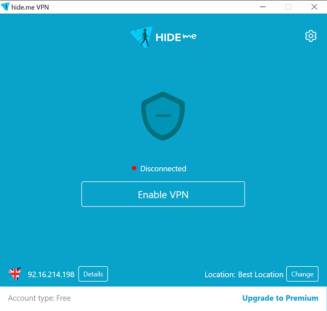Screenshot of Hide.Me VPN app