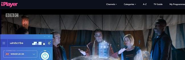 Screenshot of Windscribe unblocking Doctor Who on BBC iPlayer