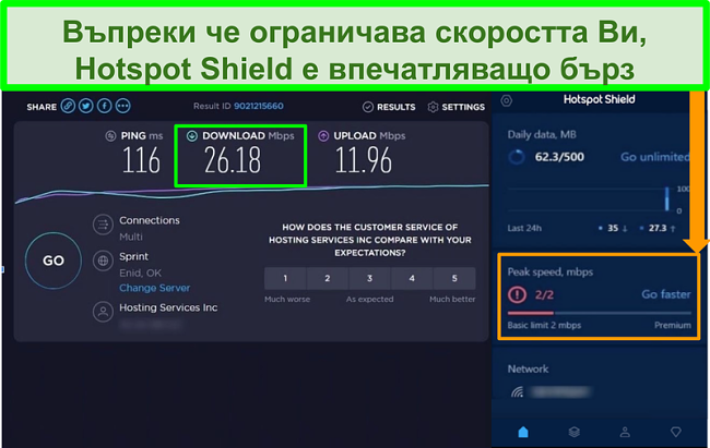 Екранна снимка на резултатите от теста за скорост, докато сте свързани към интерфейса на Hotspot Shield
