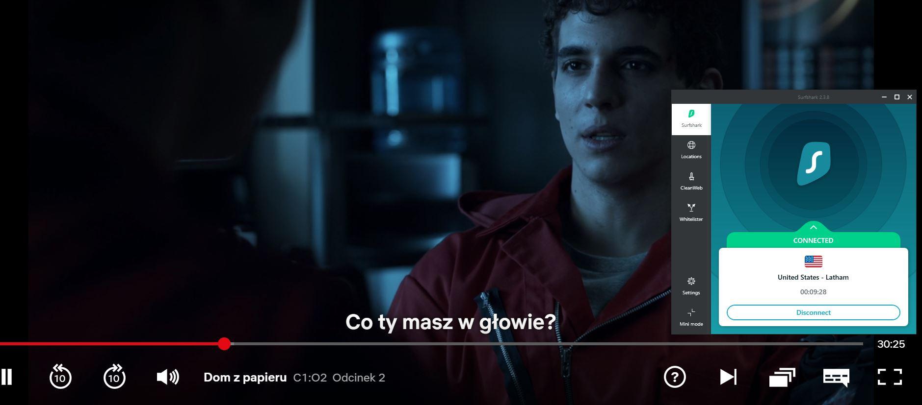 "zrzut ekranu z streamingu na Netflix z Surfshark - ""La Casa De Papel"""