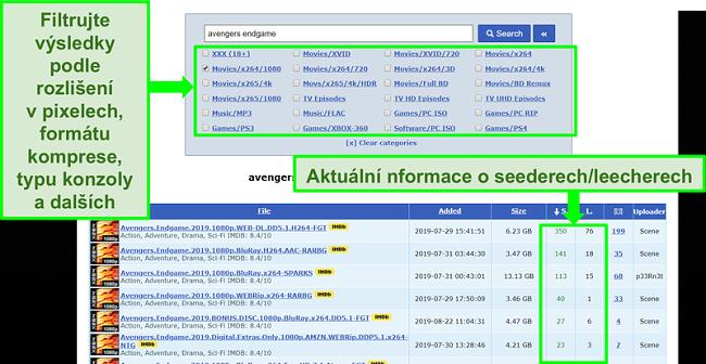 Screenshot z vyhledávací stránky RARBG
