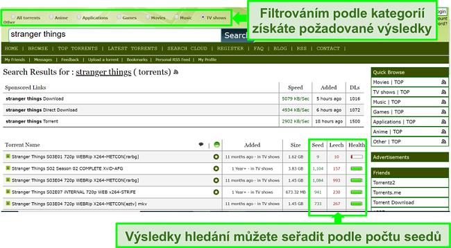 Screenshot z vyhledávací stránky Limetorrents