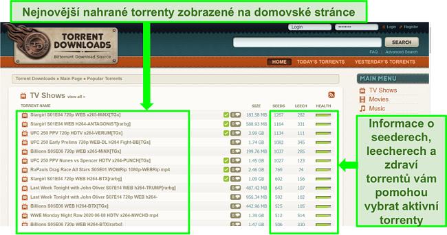 Screenshot ze vstupní stránky TorrentDownloads