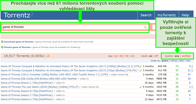 Screenshot z vyhledávací stránky Torrentz2