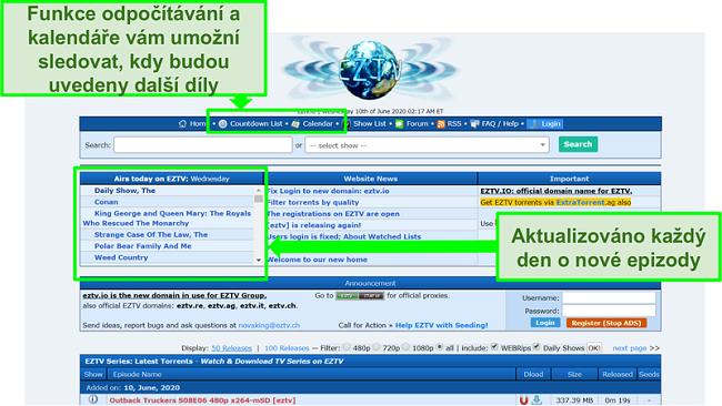 Screenshot ze vstupní stránky EZTV