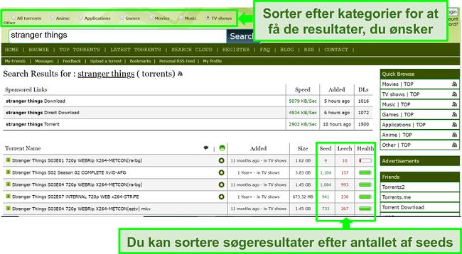 Skærmbillede af Limetorrents-søgesiden