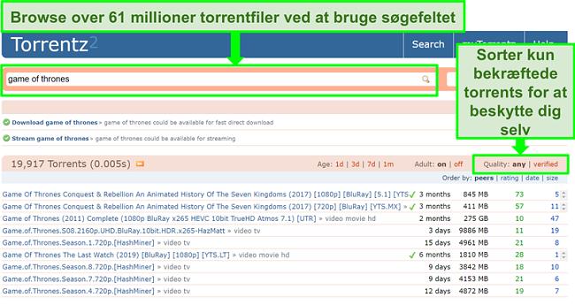 Skærmbillede af Torrentz2-søgesiden