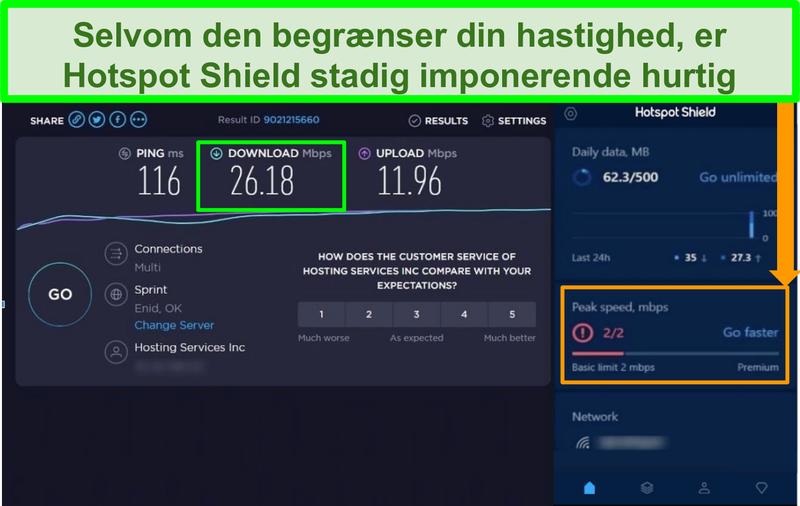 Skærmbillede af hastighedstestresultater, mens du er tilsluttet Hotspot Shield-grænsefladen