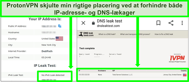 Skærmbillede af en DNS- og IP-adresselækagetest, der ikke viser IP-adresselækager, mens de er tilsluttet ProtonVPN