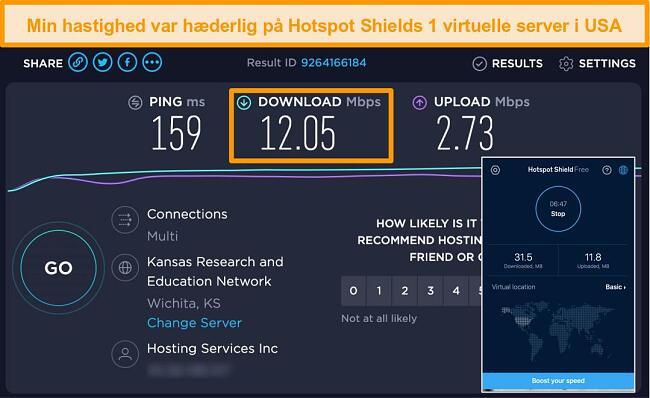Skærmbillede af Hotspot Shields gratis version på Mac tilsluttet en amerikansk server med hastighedstestresultater