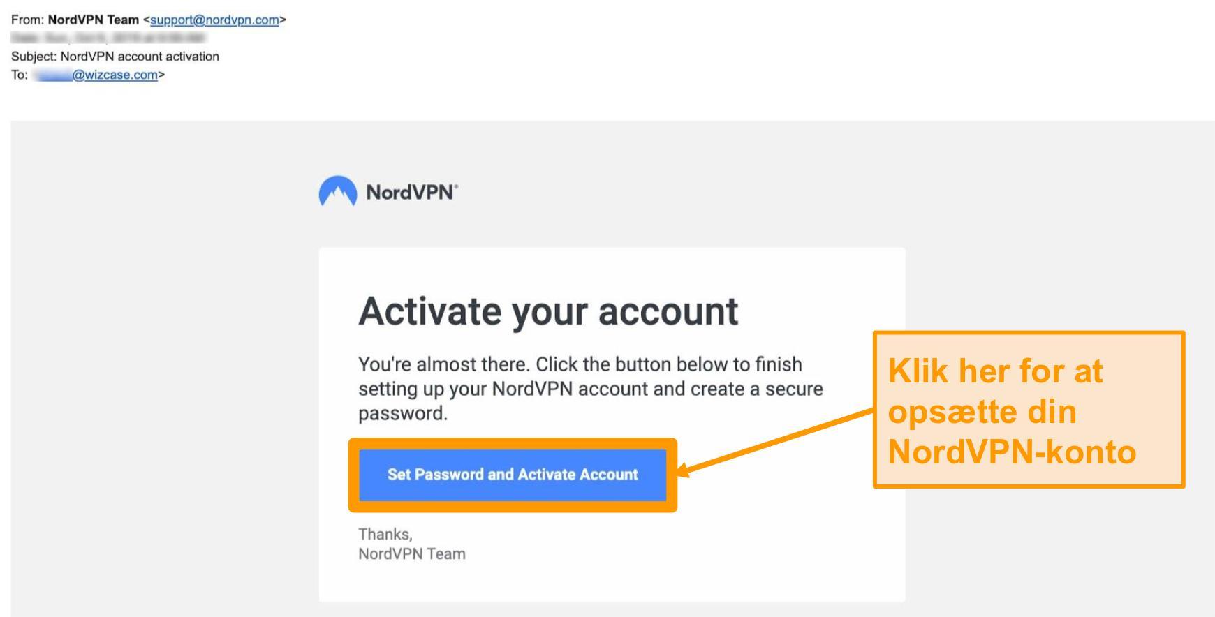 Skærmbillede af NordVPN-kontoaktiverings-e-mail