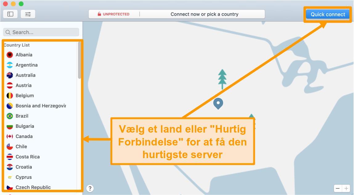 Skærmbillede af NordVPN-appen på Mac med Quick Connect og serverlisteindstillinger
