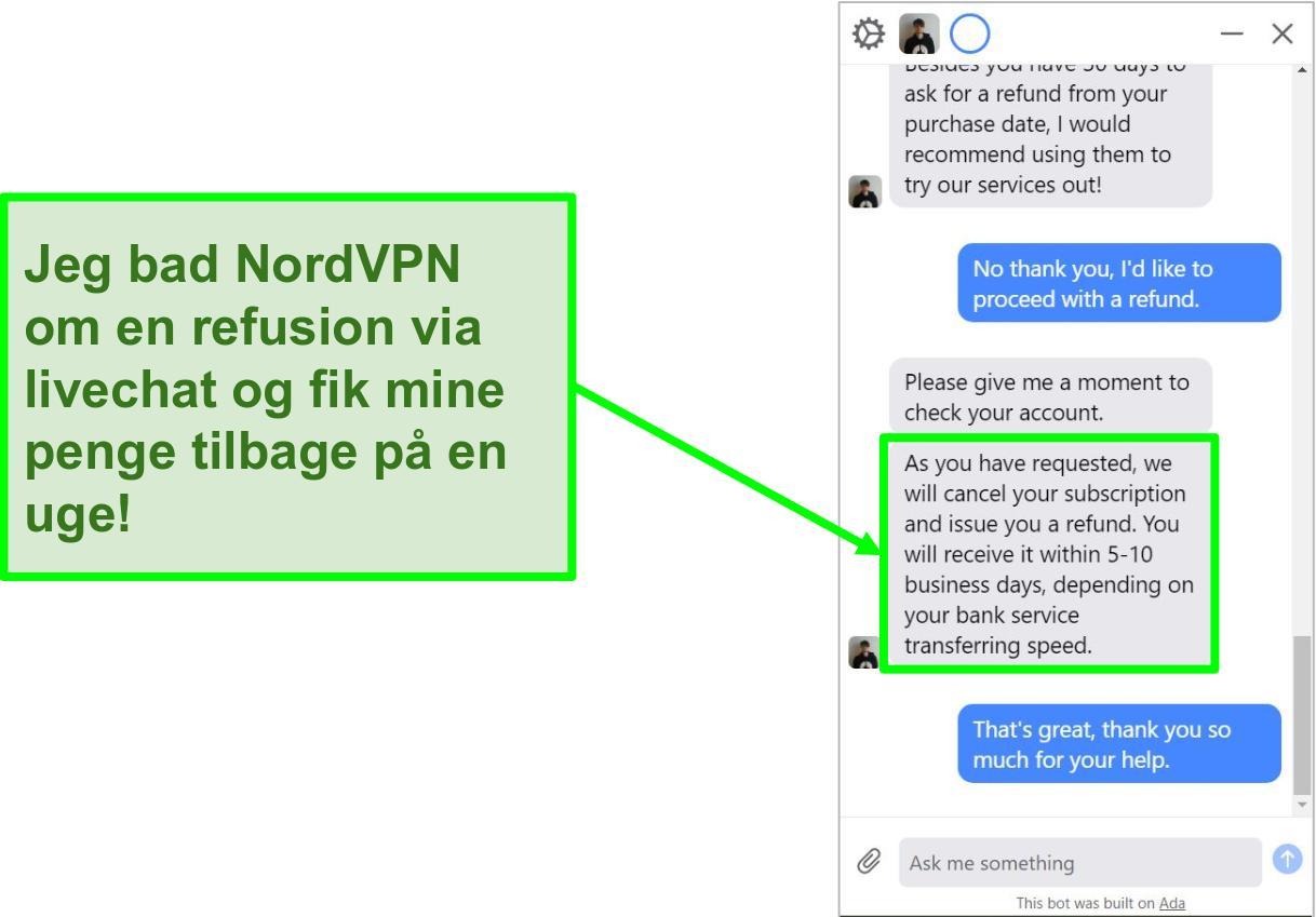 Skærmbillede af en kunde, der anmoder om refusion med 30-dages pengene-tilbage-garanti på NordVPNs live chat