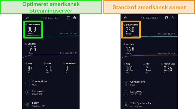 Skærmbillede af Ookla iOS-hastighedstest