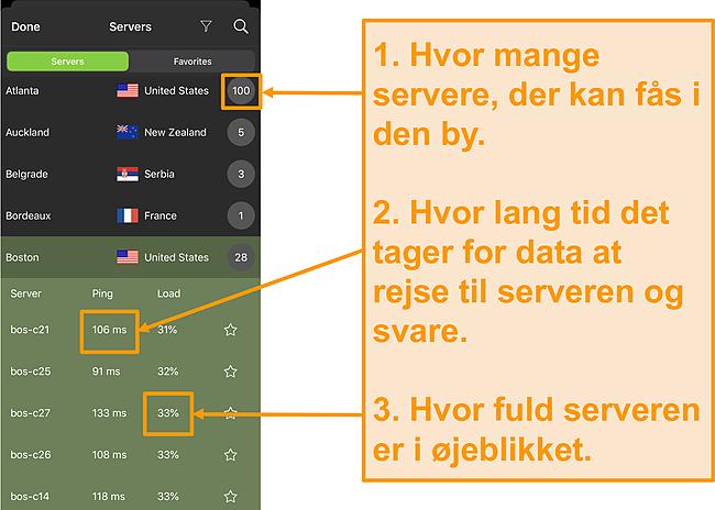 Skærmbillede af IPVanish-serverliste med servernumre, ping og serverbelastning fremhævet