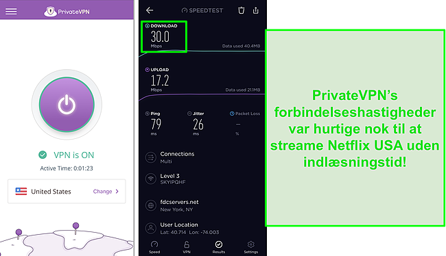 Skærmbillede af PrivateVPN forbundet til US server og Ookla hastighedstest