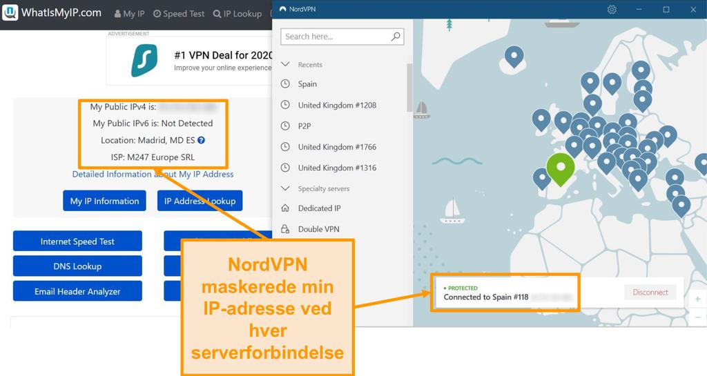 Skærmbillede af IP-adressetest, der viser, at NordVPN maskerer IP-adresser med succes