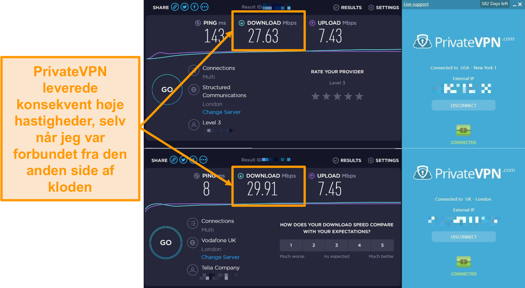 Skærmbillede af PrivateVPN-hastighedssammenligning