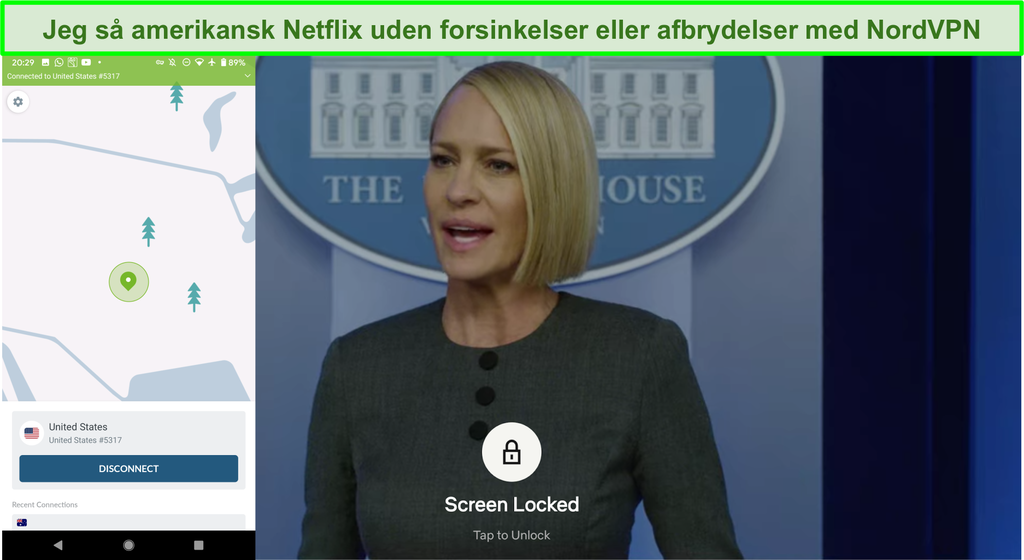 Skærmbillede af NordVPN-streaming af amerikansk Netflix uden forsinkelse eller buffering