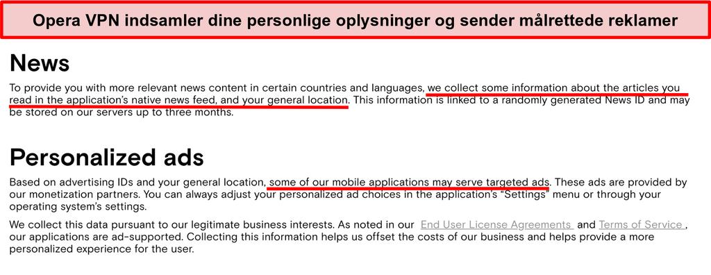 Skærmbillede af Opera VPN's privatlivspolitik, der viser det logger brugernes personlige oplysninger og sender målrettede annoncer