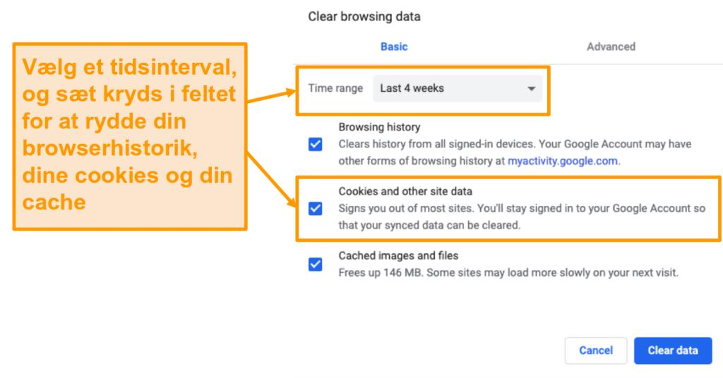 Skærmbillede af rydning af cache og browserhistorik i Google Chrome