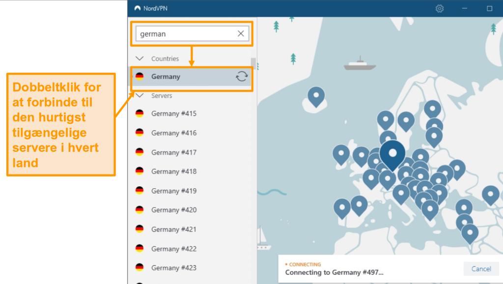 Skærmbillede af NordVPN Germany-servervalg