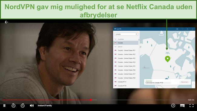 Skærmbillede af NordVPN, der fjerner blokering af Netflix Canada, mens du spiller Instant Family
