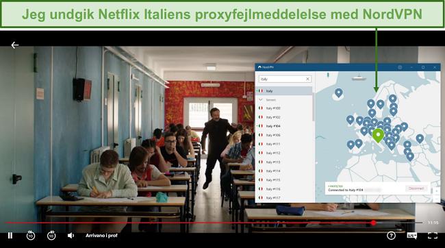 Skærmbillede af NordVPN, der fjerner blokering af Netflix Italien, mens du spiller Arrivano i Prof