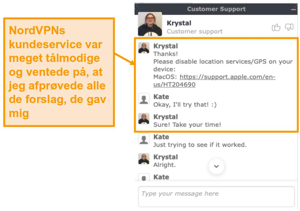 Screenshot of NordVPN customer support live chat feature