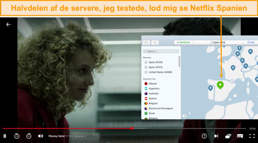 Skærmbillede af NordVPN, der blokerer Netflix Spanien