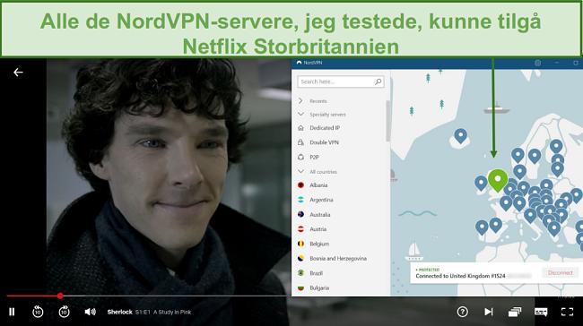 Screenshot of NordVPN unblocking Netflix UK while playing Sherlock