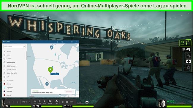 Screenshot von NordVPN, das mit einem US-Server verbunden ist, während das Spiel Left 4 Dead 2 läuft