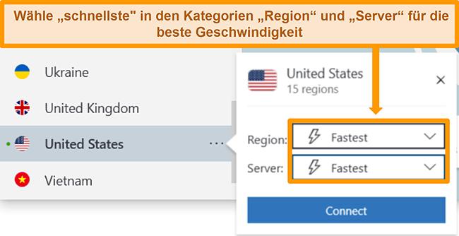 Screenshot der Serveroptionen von NordVPN für die USA mit der schnellsten Region und dem schnellsten Server