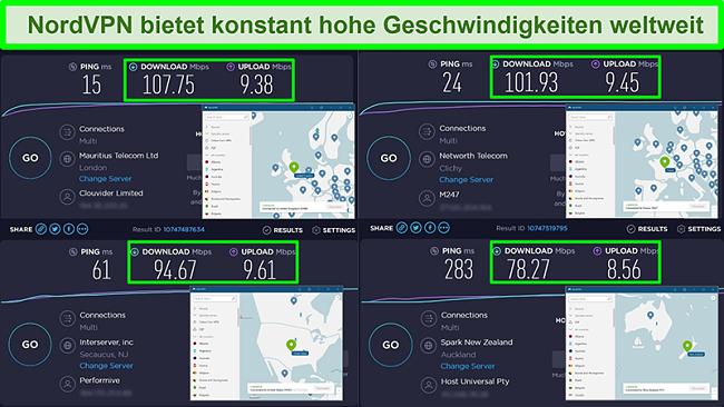 Screenshots von Geschwindigkeitstests mit NordVPN, die mit verschiedenen globalen Servern verbunden sind