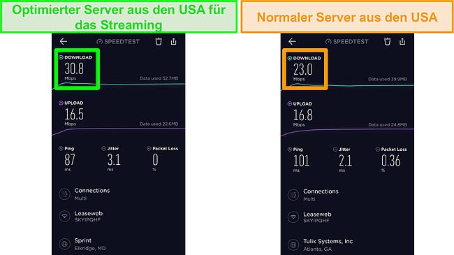 Screenshot von Ookla iOS-Geschwindigkeitstests