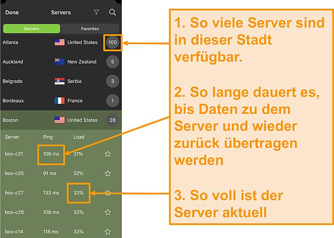 Screenshot der IPVanish-Serverliste mit hervorgehobenen Servernummern, Ping und Serverlast